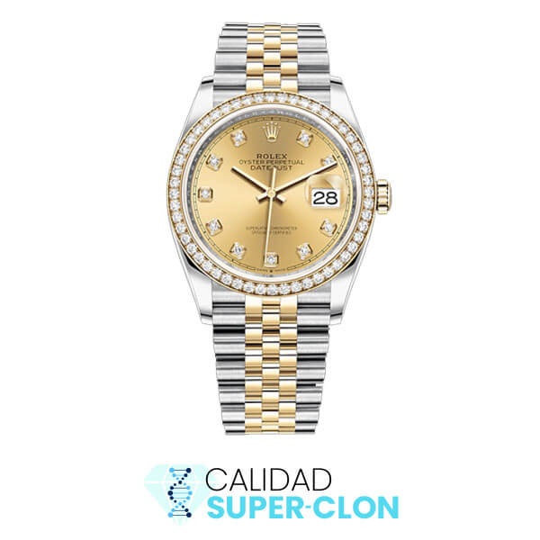 rolex superclon dayjust oro diamantes